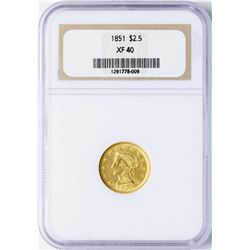 1851 $2 1/2 Liberty Head Quarter Eagle Gold Coin NGC XF40
