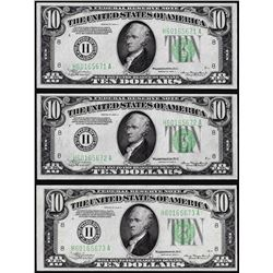 Lot of (3) Consecutive 1934A $10 Federal Reserve Notes St. Louis