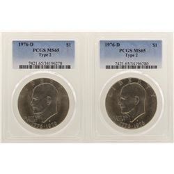 Lot of (2) 1976-D Type 3 Eisenhower Dollar Coins PCGS MS65 Type 2