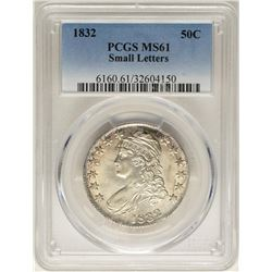 1832 Small Letters Capped Bust Half Dollar Coin PCGS MS61