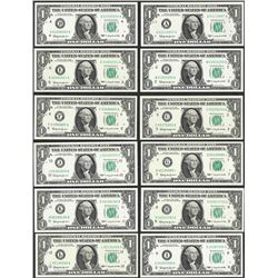 District Set of (12) 1963 $1 Federal Reserve Notes