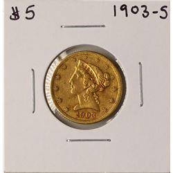 1903-S $5 Liberty Head Half Eagle Gold Coin