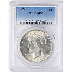 1928 $1 Peace Silver Dollar Coin PCGS MS61