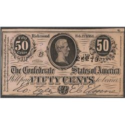 1864 Fifty Cents Confederate States of America Note