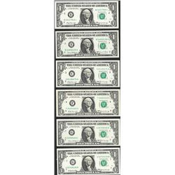 Lot of (6) 1969 $1 Federal Reserve Notes
