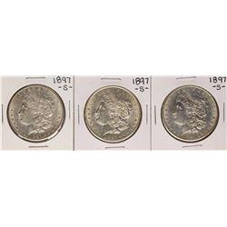 Lot of (3) 1897-S $1 Morgan Silver Dollar Coins
