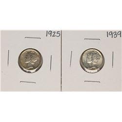Lot of 1925 & 1939 Mercury Dime Coins