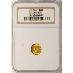 1853 $1 Liberty Head Gold Dollar Coin NGC MS63