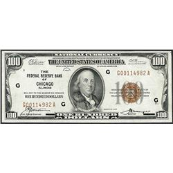 1929 $100 Federal Reserve Note Chicago Illinois