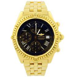 Breitling Mens Windrider Crosswind 18KT Yellow Gold 43mm Black Roman Dial Watch