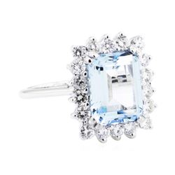 14KT White Gold 3.80 ctw Aquamarine and Diamond Ring