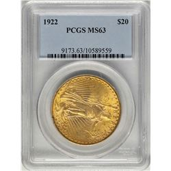 1922 $20 St. Gaudens Double Eagle Gold Coin PCGS MS63