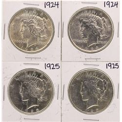 Lot of (2) 1924 & (2) 1925 $1 Peace Silver Dollar Coins
