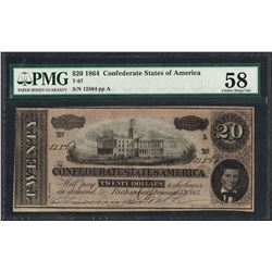 1864 $20 Confederate States of America Note T-67 PMG Choice About Uncirculated 5
