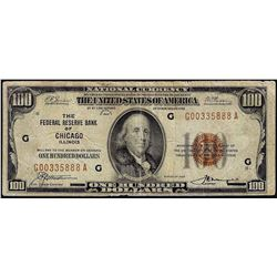 1929 $100 Federal Reserve Note Chicago