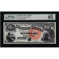 1880 $10 Jackass Legal Tender Note Fr.107 PMG Gem Uncirculated 65 Great Color