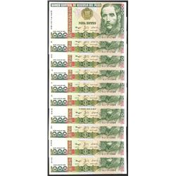 Lot of (10) 1988 Peru Mil Intis Uncirculated Bank Notes