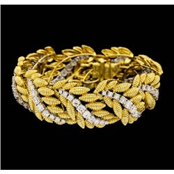 18K Yellow and White Gold 9.60 ctw Diamond Floral Bracelet