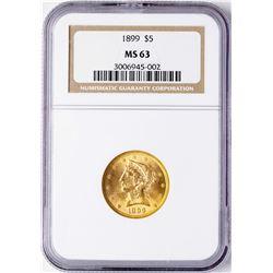1899 $5 Liberty Head Half Eagle Gold Coin NGC MS63