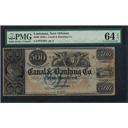 1840's $500 Canal & Banking Co. New Orleans, LA Obsolete Note PMG Choice Unc. 64
