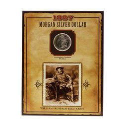 """1887-S $1 Morgan Silver Dollar Coin with William """"Buffalo Bill"""" Cody Stamp"""