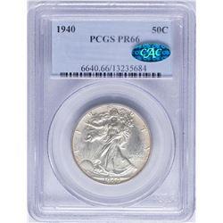 1940 Walking Liberty Half Dollar Proof Coin PCGS PR66 CAC