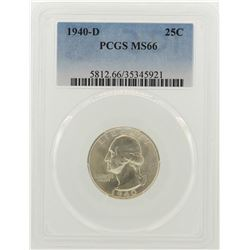 1940-D Washington Quarter Coin PCGS MS66