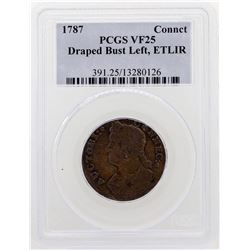 1787 Connecticut Colonial Copper Draped Bust Coin PCGS VF25