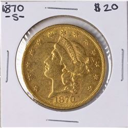 1870-S $20 Liberty Head Double Eagle Gold Coin