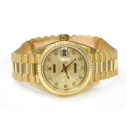 Rolex Ladies Datejust President 18KT Yellow Gold 26mm Cream Diamond Dial Watch