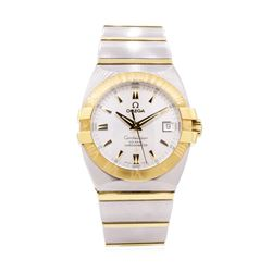 Omega Mens Constellation Stainless Steel and 18KT Yellow Gold Wristwatch
