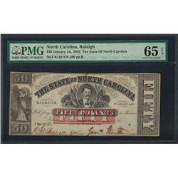1863 $50 The State of North Carolina Obsolete Note PMG Gem Uncirculated 65EPQ