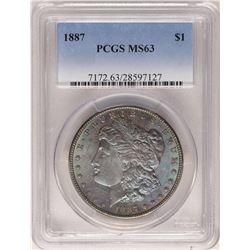 1887 $1 Morgan Silver Dollar PCGS MS63 Amazing Toning