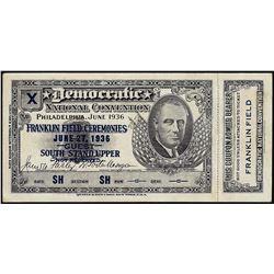 June 27, 1936 Democratic National Convention Ticket Franklin Field w/ Stub