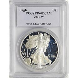 2001-W $1 Proof American Silver Eagle Coin PCGS PR69DCAM