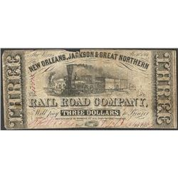 1861 $3 New Orleans, Jackson & Great Northern Rail Road Company Obsolete Note