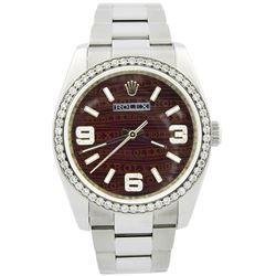 Rolex Oyster Perpetual Stainless Steel 34mm Brown Rolex Printing Dial Watch
