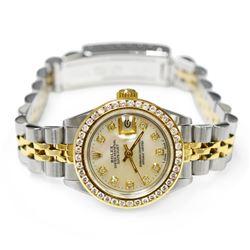 Rolex Ladies Datejust 18KT Yellow Gold & Steel 26mm MOP Diamond Dial Watch