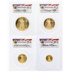 Set of (4) 2006-W 20th Anniversary American Gold Eagle Coins Reagan PCGS PR69DCA