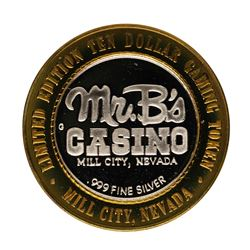 .999 Fine Silver Mr. B's Casino Mill City, Nevada $10 Limited Edition Gaming Tok