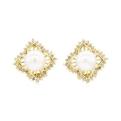 14KT Yellow Gold 0.50 ctw Diamond and Pearl Square Clip Earrings