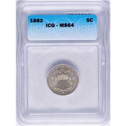 1882 Shield Nickel Coin ICG MS64