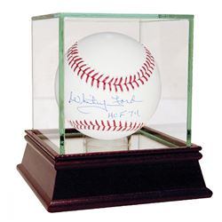 "Whitey Ford Signed Baseball Inscribed ""HOF 74"" with High Quality Display Case (Steiner COA)"