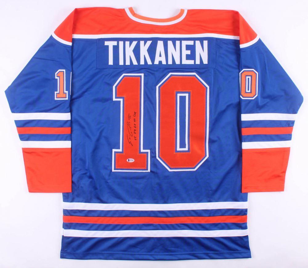 size 40 ad844 6ffa8 Esa Tikkanen Signed Edmonton Oilers Jersey Inscribed