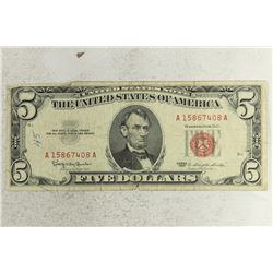 1963 $5 US RED SEAL NOTE
