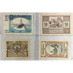 4 ASSORTED GERMAN NOTGELDS 2-10 & 2-20 HELLERS