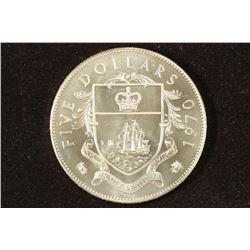 1970 BAHAMAS SILVER BRILLIANT UNC $5 1.2526 OZ.ASW