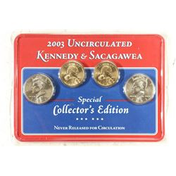 2003 KENNEDY AND SACAGAWEA UNC 4 COIN COLLECTION