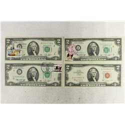 4 ASSORTED $2 BILLS. 1963 US RED SEAL NOTE AND