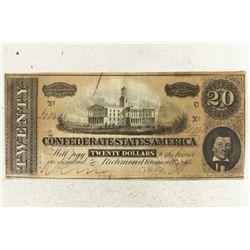 1864 CONFEDERATE STATES OF AMERICA $20